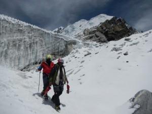 Andy mit Tensing beim Abstieg vom Lobuche East Peak