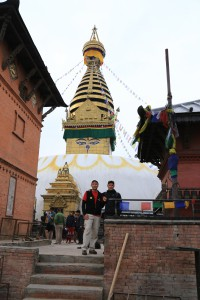 Andy und Wolfi bei der Swayambunath Stupa