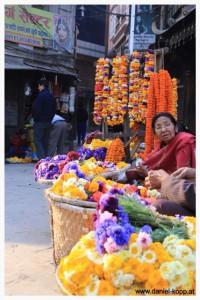 Blumenverkäuferin am Markt
