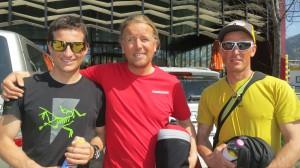 Daniel, Andy und  Wolfgang auf dem Weg zum Flughafen
