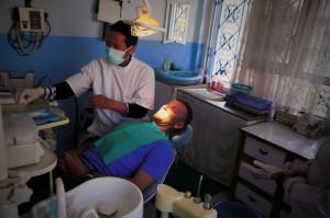 Wolfi während der Behandlung beim Zahnarzt