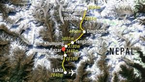 Route bis zum Basislager auf 5.380m und Retour nach Lukla auf 2.840m
