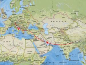 Flugstrecke von München nach Kathmandu über Istanbul