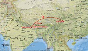 Flug Kathmandu nach Chengdu (Andreas Unterkreuter)