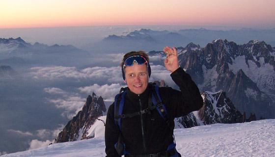 Andy am Gipfel vom Mont Blanc