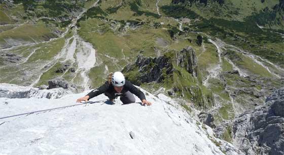 Andy bei der Besteigung der direkten Südkante am Gamsleitenkopf