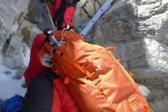 Andy klettert die Leiter am Second Step ab (Foto Klemens Bichler)