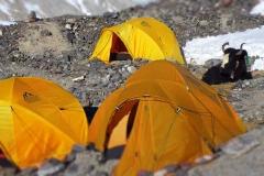Unsere Behausung im Mittelcamp auf 5780m (Foto: Wolfgang Klocker)